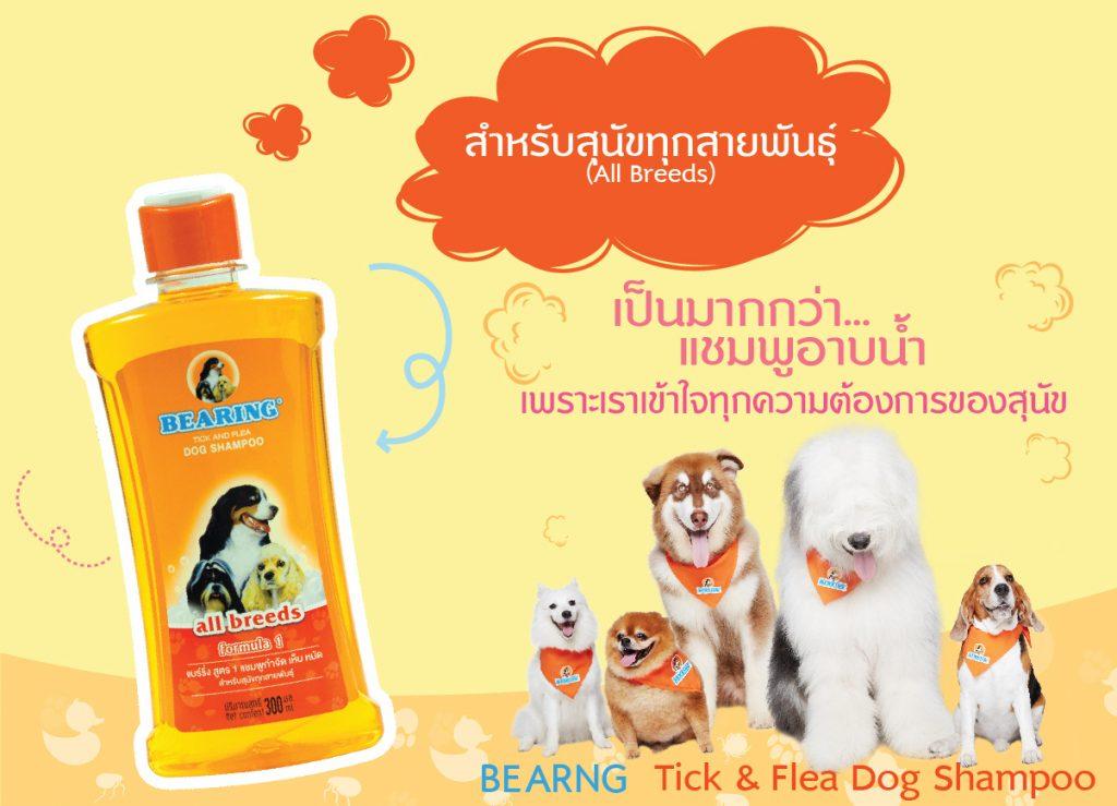 Bearing แชมพูกำจัดเห็บหมัด สำหรับสุนัขทุกสายพันธุ์
