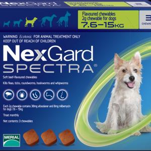 NexGard Spectra สุนัข 7.5-15 กก ยากินกำจัดเห็บหมัด กันพยาธิหัวใจ ถ่ายพยาธิลำไส้